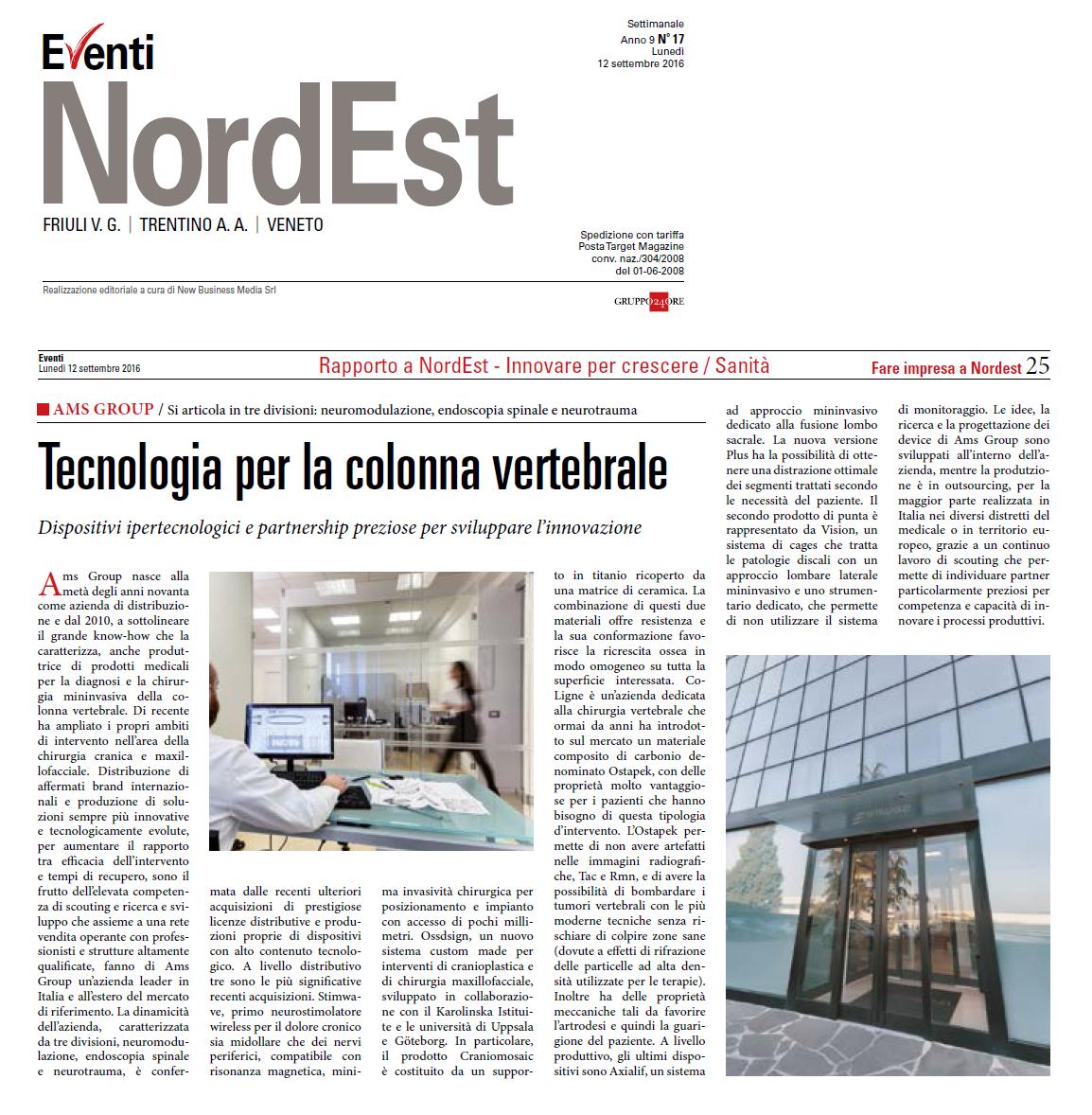 """Articolo AMS Group su settimanale """"Eventi NordEST"""": Tecnologia per la colonna vertebrale"""